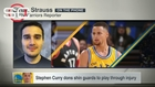 Curry dons shin guards to play through injury